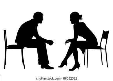 Silhouettes of Business men and women sit on office chairs, meeting, talking, making business deals.