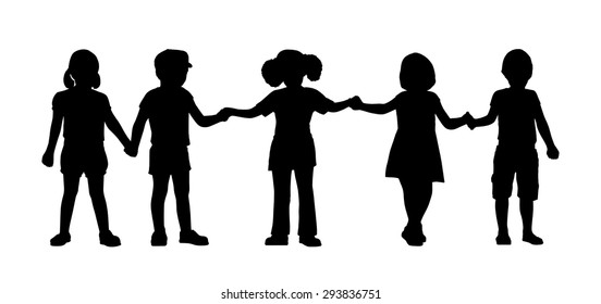silhouettes of children of 4-5 years old standing holding hands together, front view
