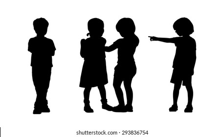 silhouettes of children 6 years old standing in different postures, front and back view, summertime