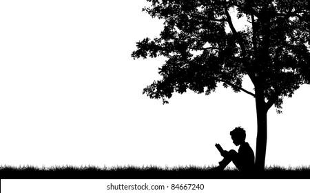 Silhouettes of children read book under tree