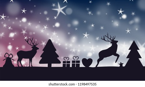 the silhouettes of christmas objects