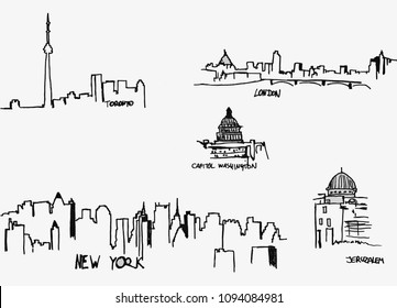 Silhouettes of the city`s. Hand-drawn picture. On the letterhead or mail.