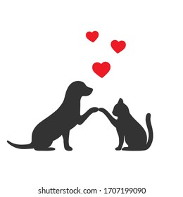 silhouettes of dogs and cats best friends on a white background