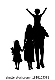 Silhouettes of family father mother daughter and son from back. Illustration symbol icon