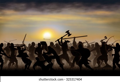 silhouettes fighting warriors are seen against the background of the rising sun