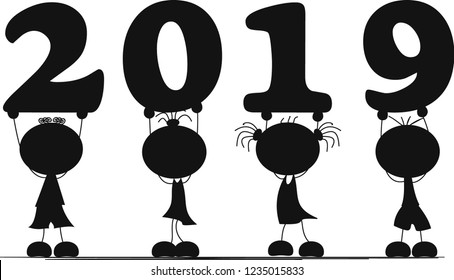 Silhouettes of four Children  holding 2019