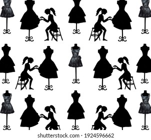 Silhouettes of a girl, mannequins and dresses. Fashionable pattern for your design. Hand drawn. Illustrations.