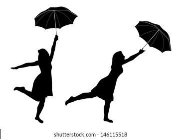 Silhouettes of girl with umbrella. Raster version
