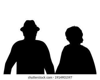 Silhouettes of grandparents closeup. Illustration symbol icon