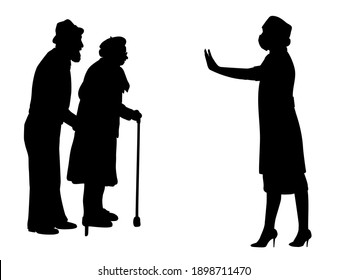 Silhouettes of grandparents and doctor showing stop gesture. Illustration graphics icon vector