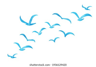 Silhouettes of groups of  birds on white. Watercolor