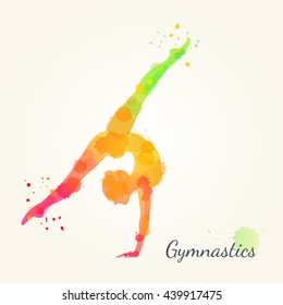 Silhouettes of a gymnastic girl. Watercolor illustration on white background