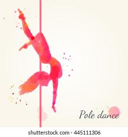 silhouettes pole dance girl vector watercolor stock vector royalty