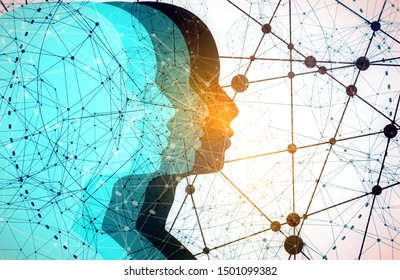 Silhouettes of the head of men. Mental health relative brochure or report design template. Scientific medical designs. Teamwork and communication concept. Connected lines with dots.