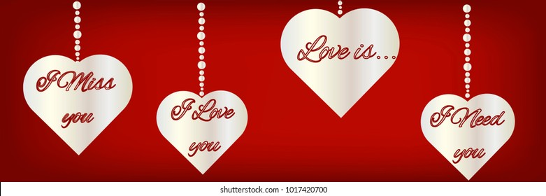 Silhouettes Heart Symbols Text About Love Stock Illustration