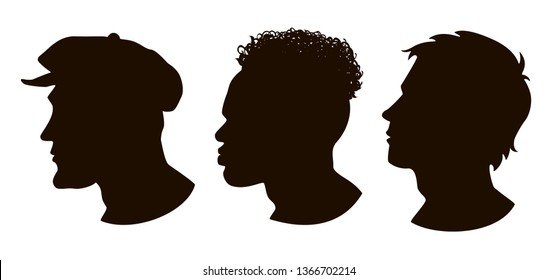 Silhouettes of Hooligan, African American, Sportsman. Men profile silhouettes.The contour of hair.