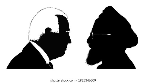 Silhouettes of Joe Biden vs. Hassan Rouhani. Presidents of the United States and Iran. Illustrative for US-Iran tensions. RASTER ILLUSTRATION. Stafford, United Kingdom - February 26 2021.