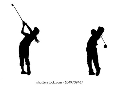 SILHOUETTES JUNIOR BOY AND GIRL GOLFER