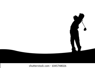 SILHOUETTES JUNIOR BOY GOLFER / TEE OFF SHOT WITH DRIVER WITH SPACE FOR TEXT IN THE SKY OR DESIGN FOR PAPER NOTE