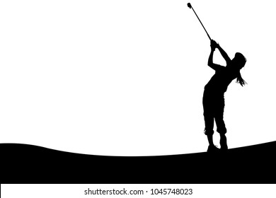 SILHOUETTES JUNIOR GIRL GOLFER /APPROACH SHOT FROM FAIRWAY WITH 8 IRON WITH SPACE FOR TEXT IN THE SKY OR DESIGN FOR PAPER NOTE