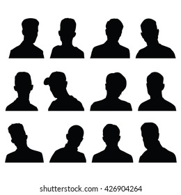 Silhouettes of male head in frontal with different hairstyles. Raster image.