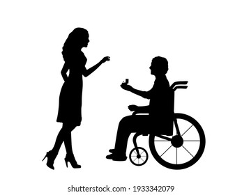 Silhouettes of man in wheelchair makes an offer gives wedding ring to woman. Illustration symbol icon