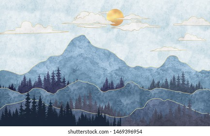 Silhouettes of mountains with trees. Abstraction of textured plaster with gold elements. Mural, mural, Wallpapers for interior printing