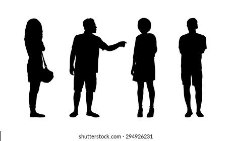 silhouettes of ordinary adult men and women standing outdoor in different postures looking around, summertime, front, back and profile views