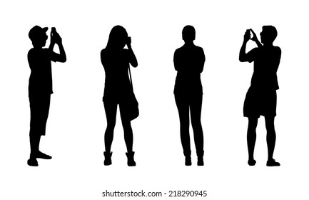 silhouettes of ordinary teen girls and boys standing outdoor in different postures, front and back views