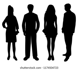 Silhouettes of people of women and men on a white background