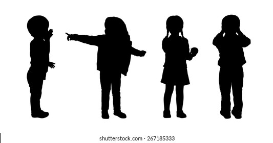 silhouettes of preschoolers girls and boys about 3 years old standing in different postures