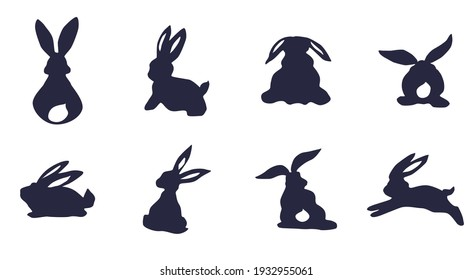 silhouettes of rabbits and hares on a white background. doodle picture sketch