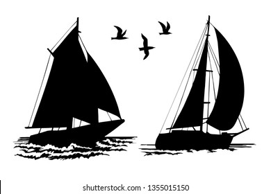 Silhouettes of sailing yachts and seagulls on a white background. Hand-drawn raster illustration.