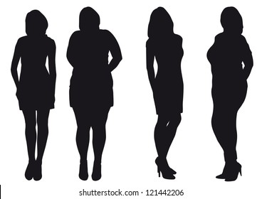 Silhouettes of slip of a girl and fat woman