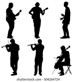 Silhouettes street musicians playing instruments. illustration.