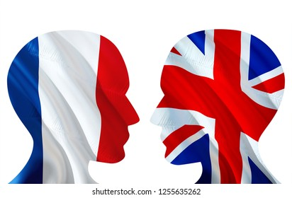 Silhouettes of talking French and UK people. 3D Illustration of two people talk face to face. Dialogue between two nations English and French concept. Communication concept, two face talking people