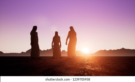 The silhouettes of three Arabs in dishdasha are talking to each other. Beautiful dawn sunrise 3d render