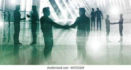 Silhouettes of Two Businessman Shaking Hands Art