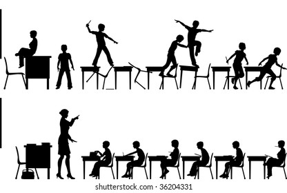Silhouettes of two classroom scenes