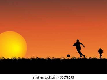 Silhouettes of two people playing soccer in a field. Illustration.
