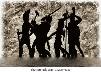 Silhouettes of well armed Vikings standing in water and preparing to attack, textured stone wall, Valhalla, Odin, Ragnarok themes, Old Norse myths, illustration in sketch drawing style, 3D rendering