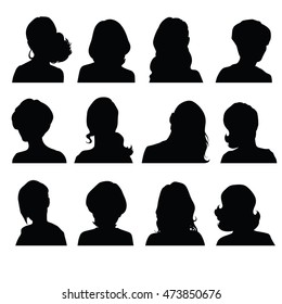 Silhouettes of a woman's head in frontal with different hairstyles. Raster image.
