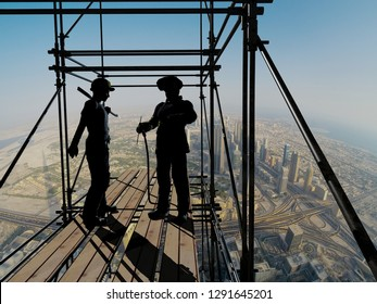 Silhouettes of workers against the background of the city.3d render
