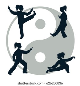 Silhouettes of yang woman performs a few forms of Tai Chi isolated on white background