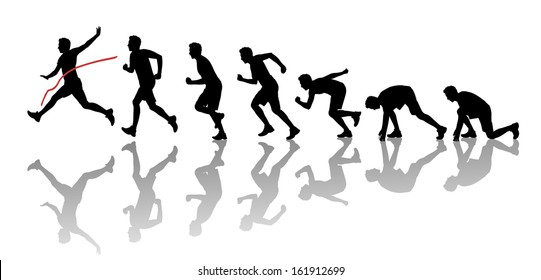 silhouettes of a young man starting running, running and crossing a red finish line winning a race