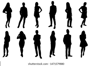 Silhouettes of young people. Girls and boys in full growth. Black silhouette on a white background, contour.