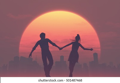 Silhouettes of young romantic couple walking hand in hand to the city on a sunset. This is a 3d render illustration
