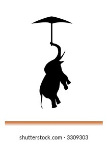 silhoutte of flying elephant on umbrella. Motto: If elephant can fly you can do everything.