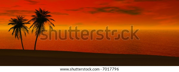 Silhoutte of two palms in sunset
