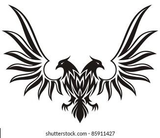 Silhuette of double headed eagle isolated on white
